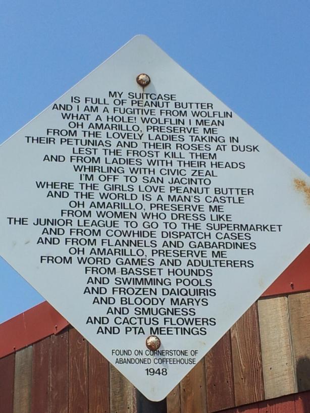 Amarillo Road Sign
