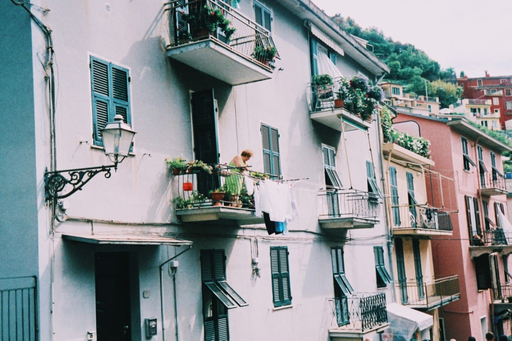 Italian woman on balcony - Manarola Cinque Terre 35mm