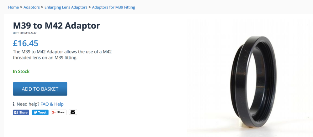 M39 to M42 adaptor